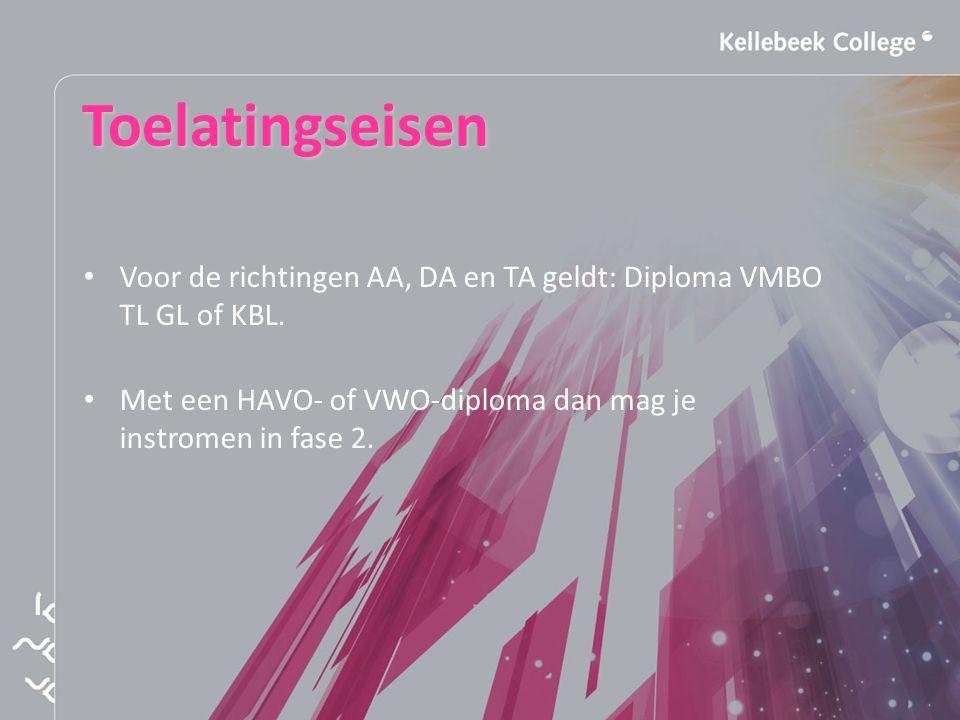 Toelatingseisen Voor de richtingen AA, DA en TA geldt: Diploma VMBO TL GL of KBL.
