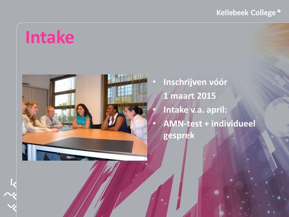 Intake Inschrijven vóór 1 maart 2015 Intake v.a. april: