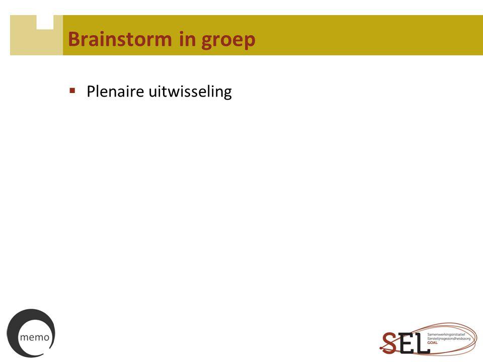 Brainstorm in groep Plenaire uitwisseling