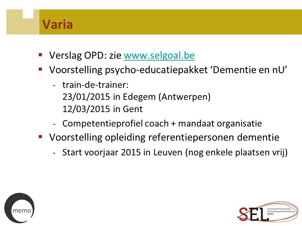 Varia Verslag OPD: zie www.selgoal.be