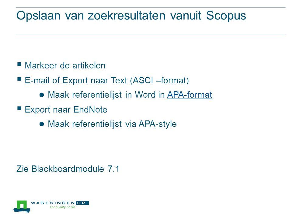 Opslaan van zoekresultaten vanuit Scopus