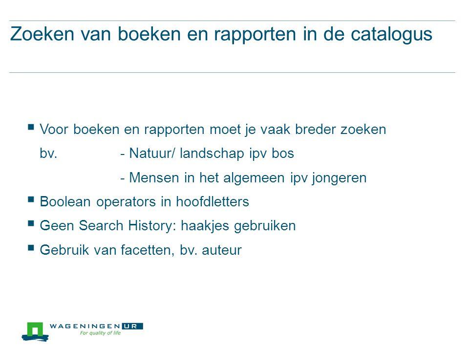 Zoeken van boeken en rapporten in de catalogus