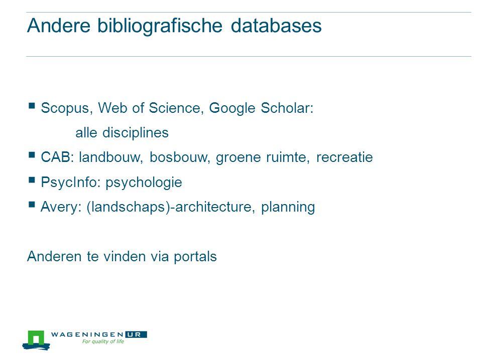 Andere bibliografische databases
