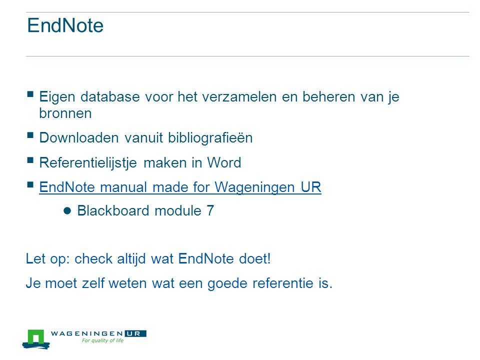 EndNote Eigen database voor het verzamelen en beheren van je bronnen