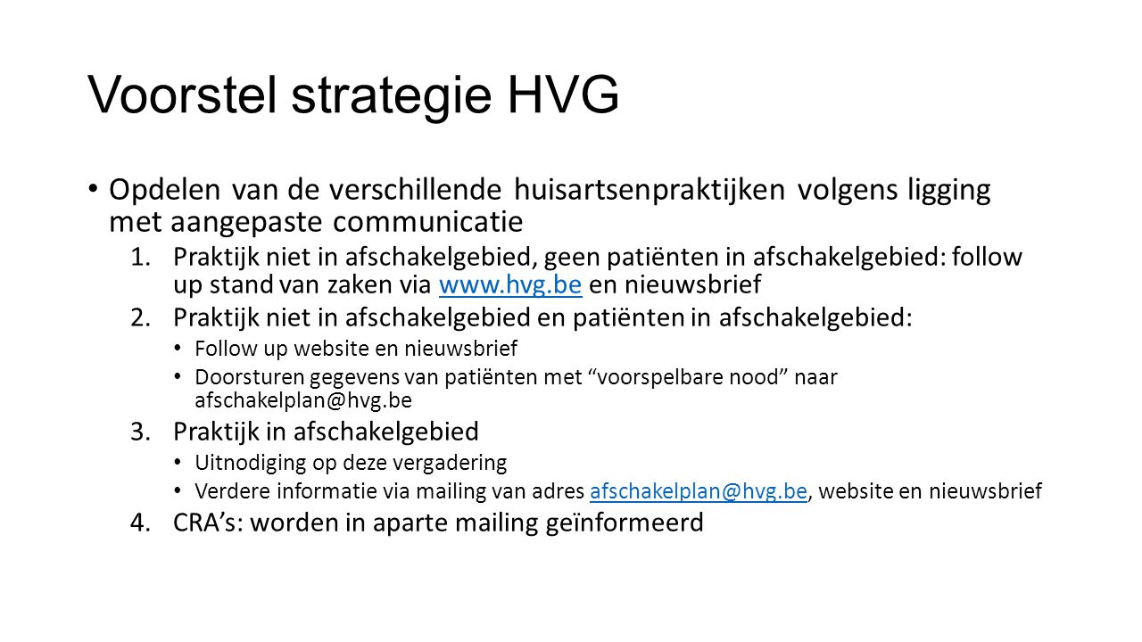 Voorstel strategie HVG