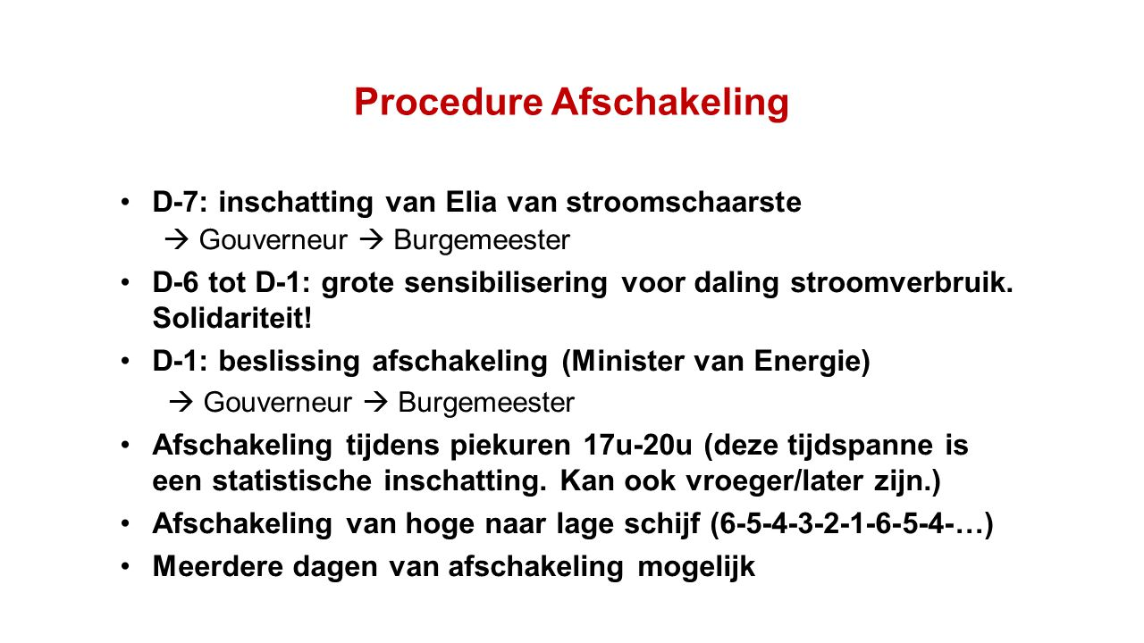 Procedure Afschakeling