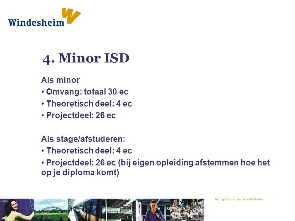 4. Minor ISD Als minor Omvang: totaal 30 ec Theoretisch deel: 4 ec