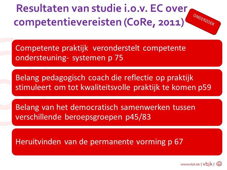 Resultaten van studie i.o.v. EC over competentievereisten (CoRe, 2011)
