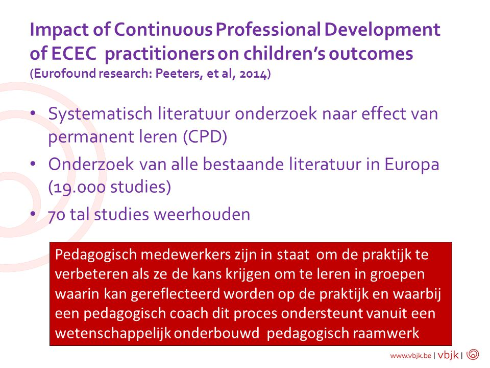 Impact of Continuous Professional Development of ECEC practitioners on children's outcomes (Eurofound research: Peeters, et al, 2014)
