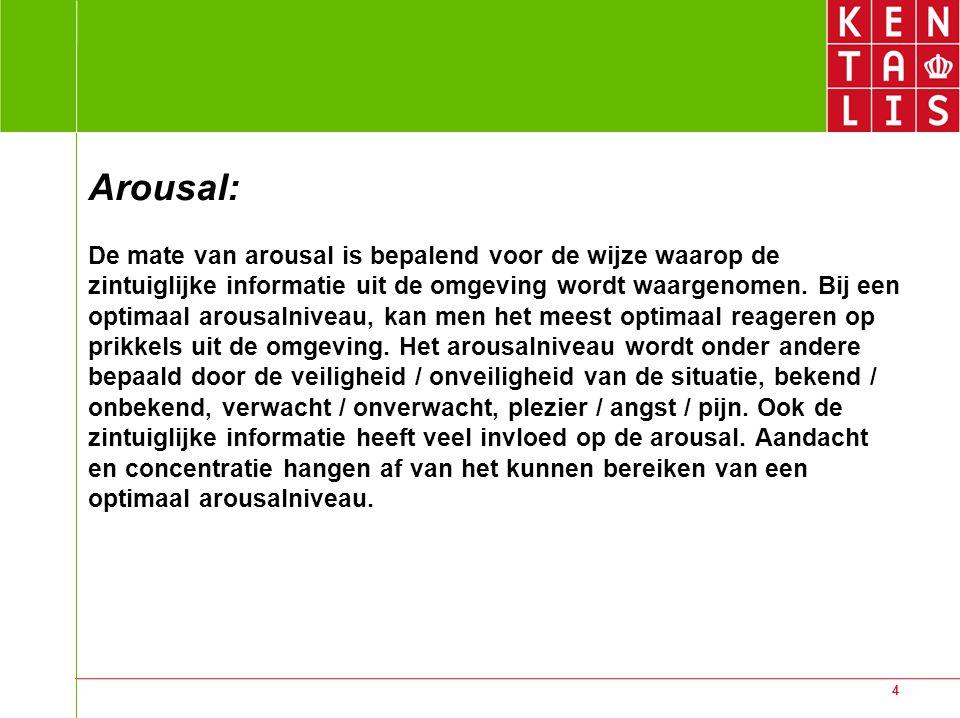 Arousal: De mate van arousal is bepalend voor de wijze waarop de zintuiglijke informatie uit de omgeving wordt waargenomen.