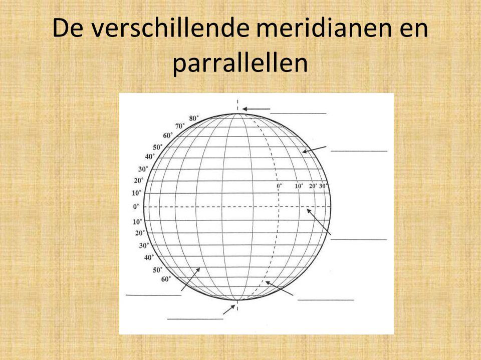 De verschillende meridianen en parrallellen