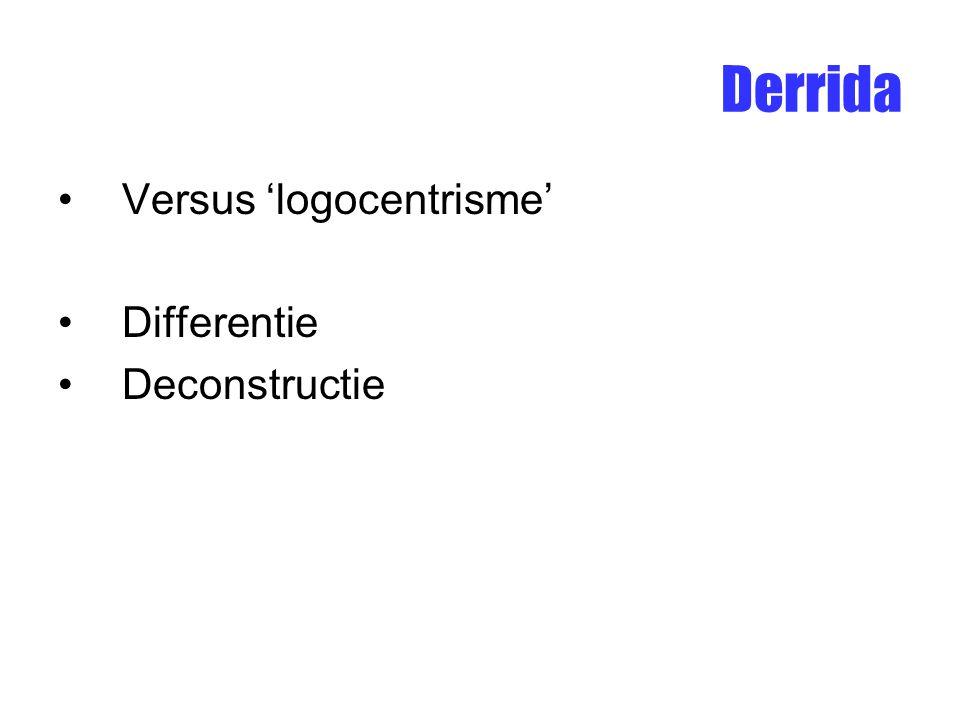 Derrida Versus 'logocentrisme' Differentie Deconstructie