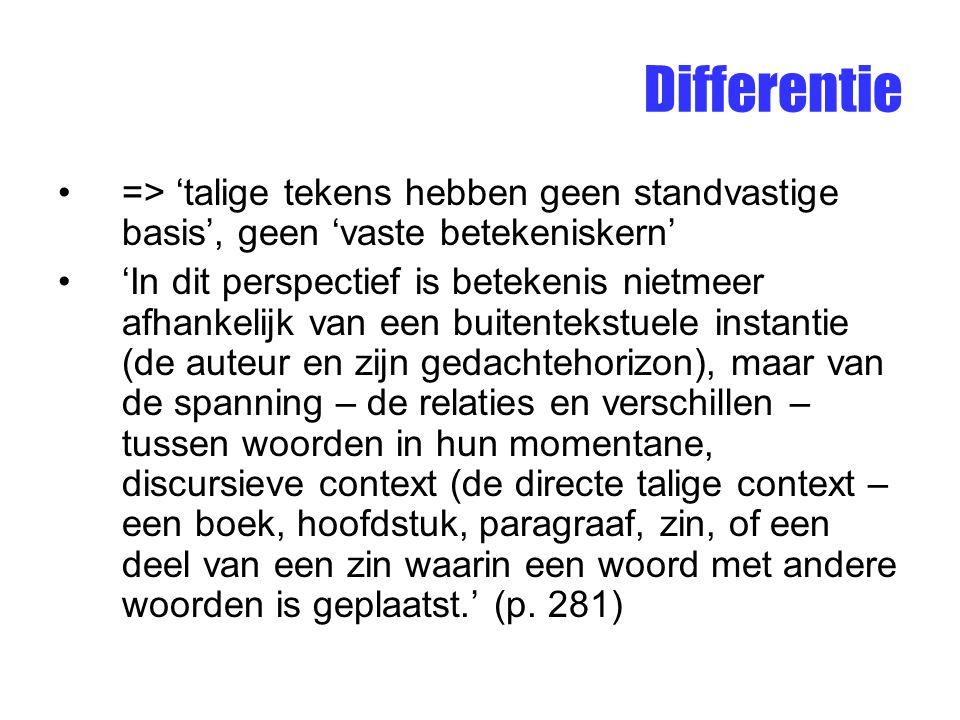 Differentie => 'talige tekens hebben geen standvastige basis', geen 'vaste betekeniskern'