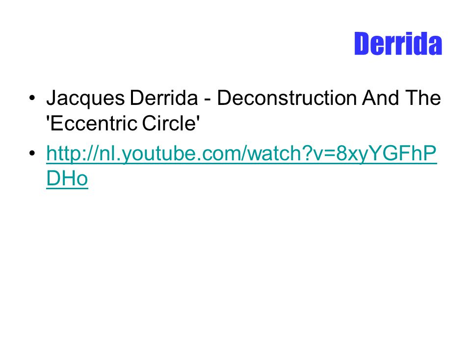 Derrida Jacques Derrida - Deconstruction And The Eccentric Circle