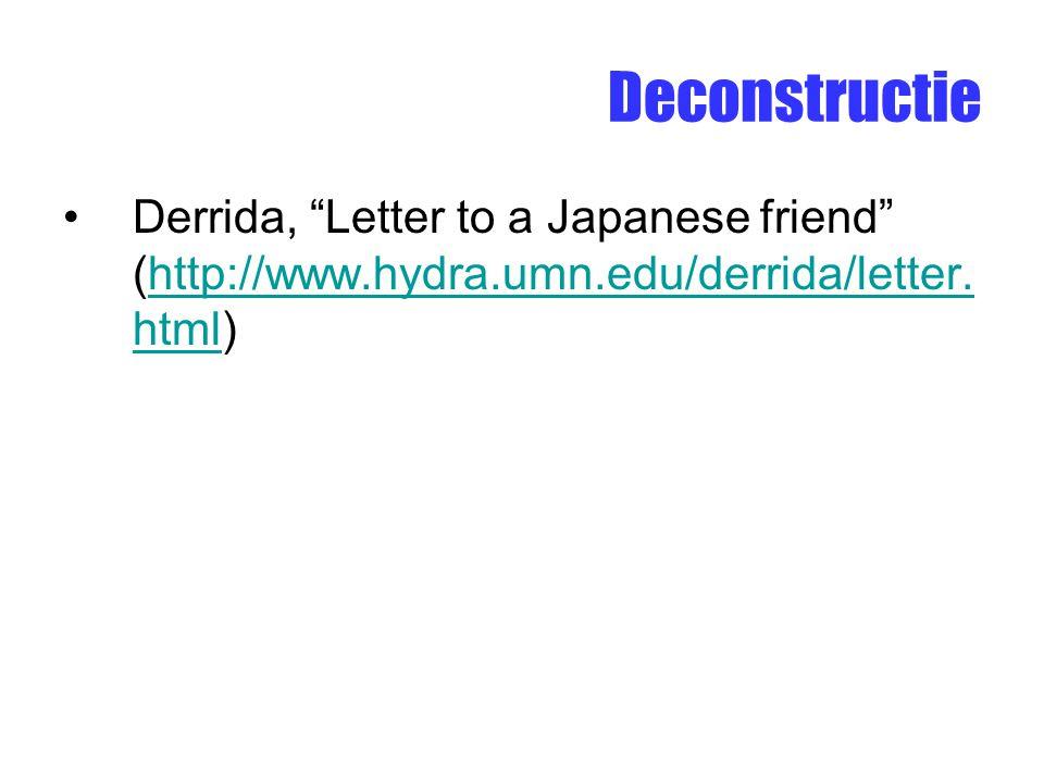 Deconstructie Derrida, Letter to a Japanese friend (http://www.hydra.umn.edu/derrida/letter.html)