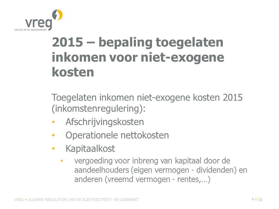 2015 – bepaling toegelaten inkomen voor niet-exogene kosten