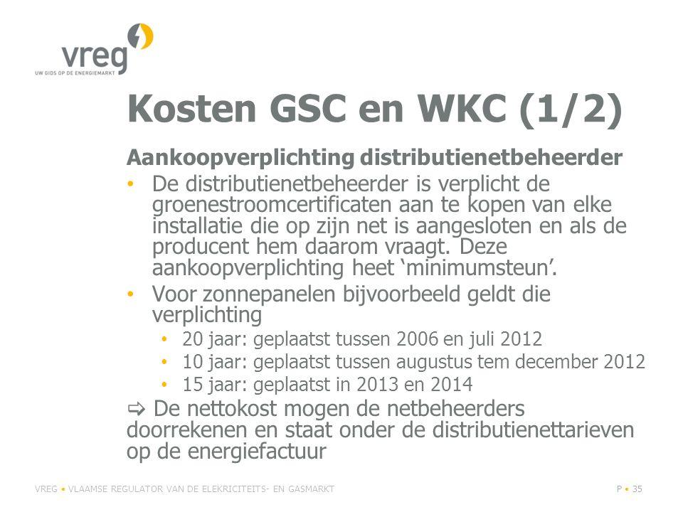 Kosten GSC en WKC (1/2) Aankoopverplichting distributienetbeheerder