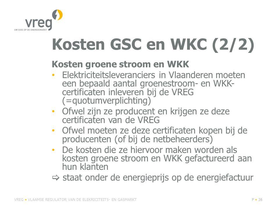 Kosten GSC en WKC (2/2) Kosten groene stroom en WKK