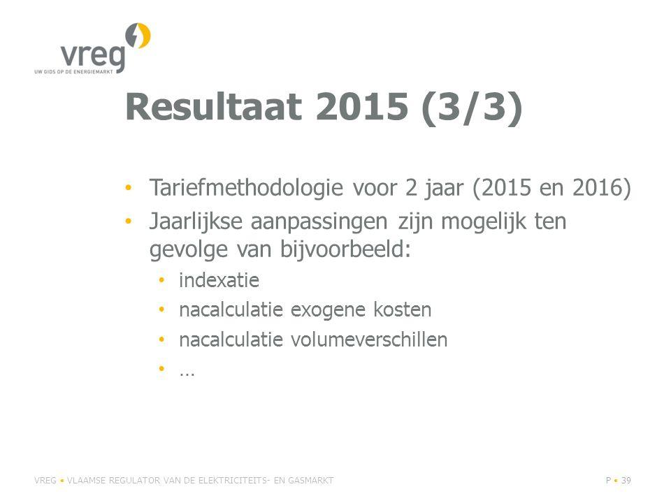 Resultaat 2015 (3/3) Tariefmethodologie voor 2 jaar (2015 en 2016)