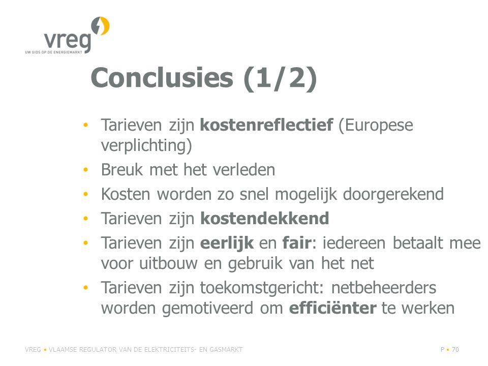 Conclusies (1/2) Tarieven zijn kostenreflectief (Europese verplichting) Breuk met het verleden. Kosten worden zo snel mogelijk doorgerekend.
