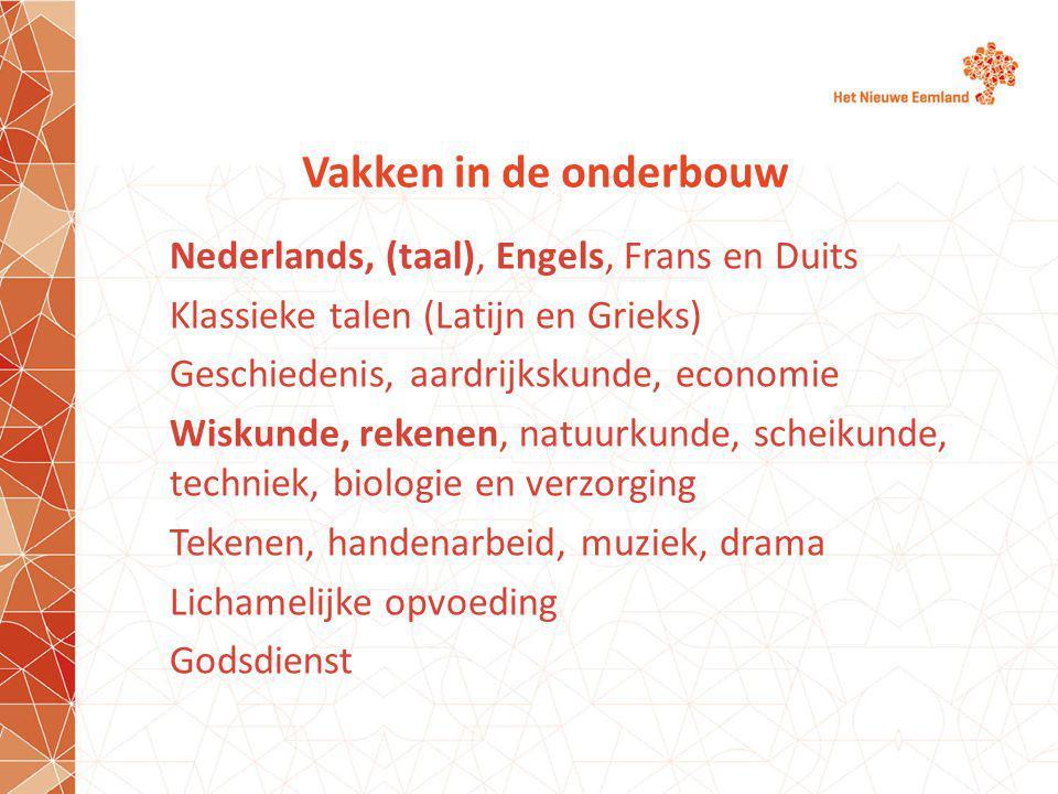Vakken in de onderbouw Nederlands, (taal), Engels, Frans en Duits