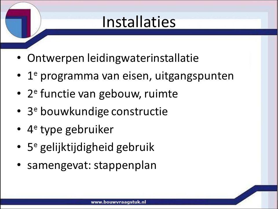 Installaties Ontwerpen leidingwaterinstallatie