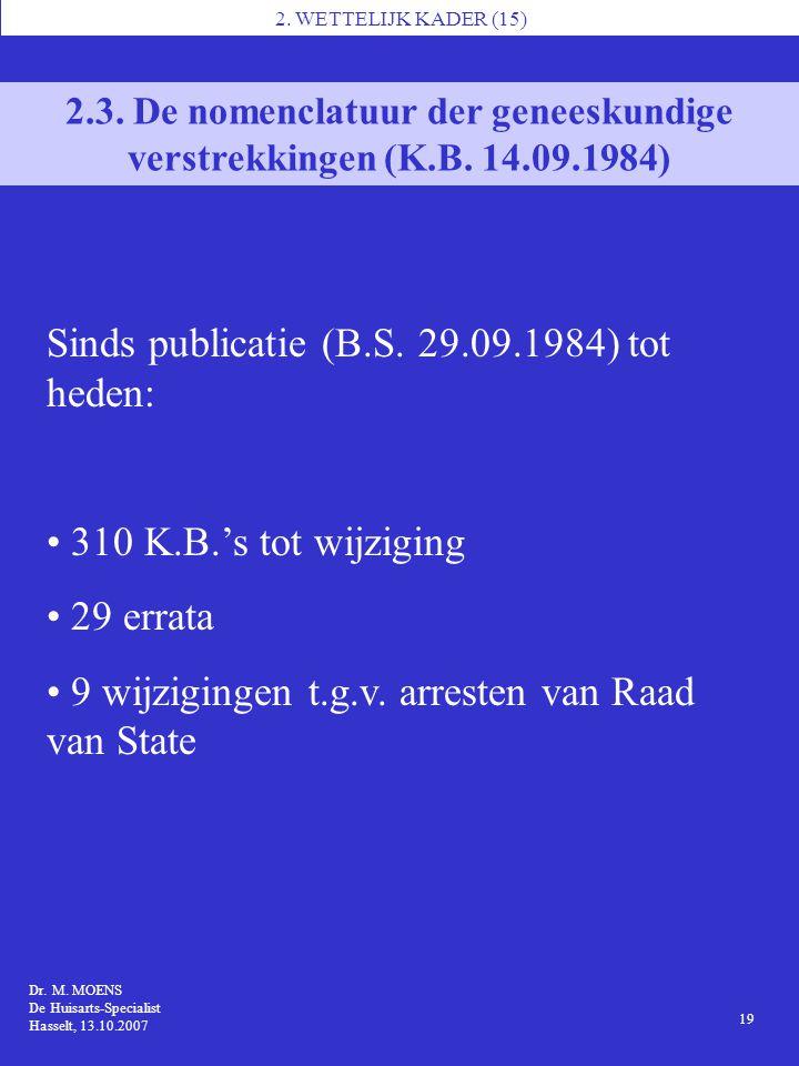 Sinds publicatie (B.S. 29.09.1984) tot heden: