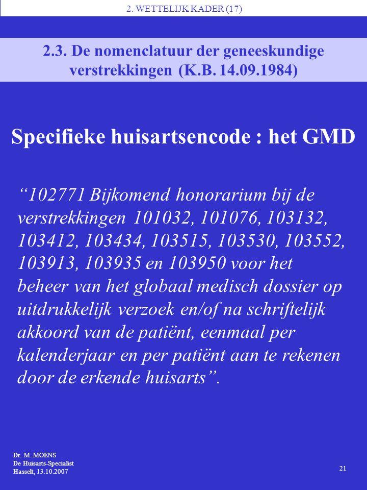 Specifieke huisartsencode : het GMD