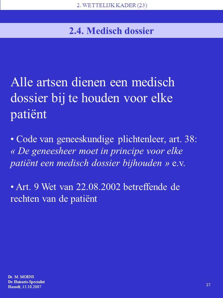 Alle artsen dienen een medisch dossier bij te houden voor elke patiënt