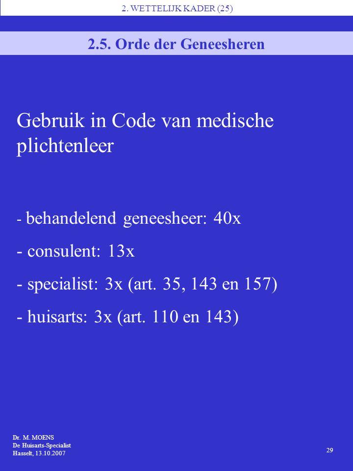 Gebruik in Code van medische plichtenleer
