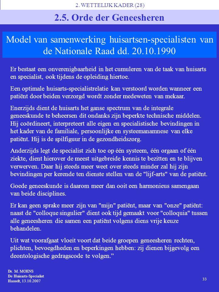 2. WETTELIJK KADER (28) 2.5. Orde der Geneesheren. Model van samenwerking huisartsen-specialisten van de Nationale Raad dd. 20.10.1990.
