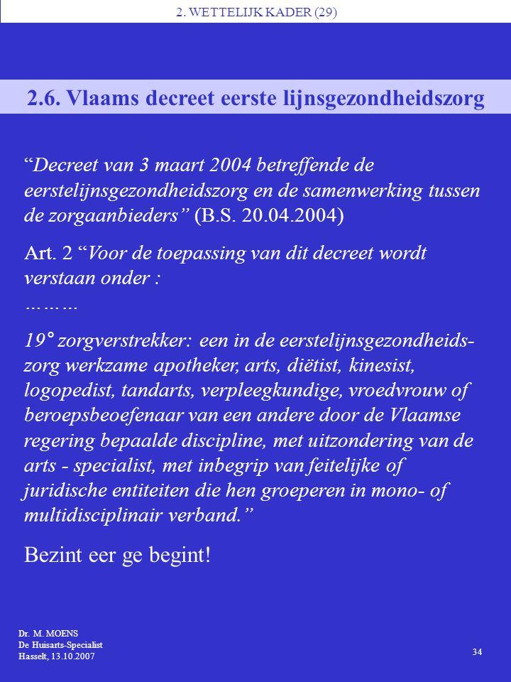 2.6. Vlaams decreet eerste lijnsgezondheidszorg