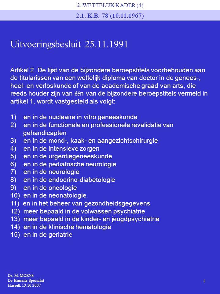 Uitvoeringsbesluit 25.11.1991 2.1. K.B. 78 (10.11.1967)