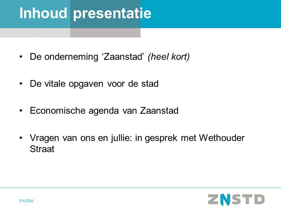 Inhoud presentatie De onderneming 'Zaanstad' (heel kort)