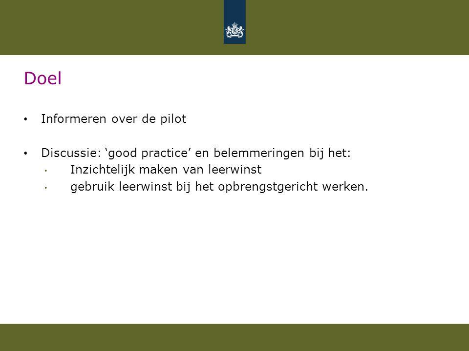 Doel Informeren over de pilot