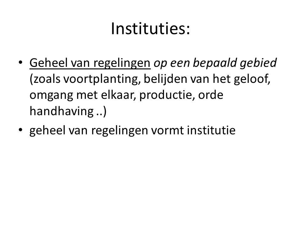 Instituties: