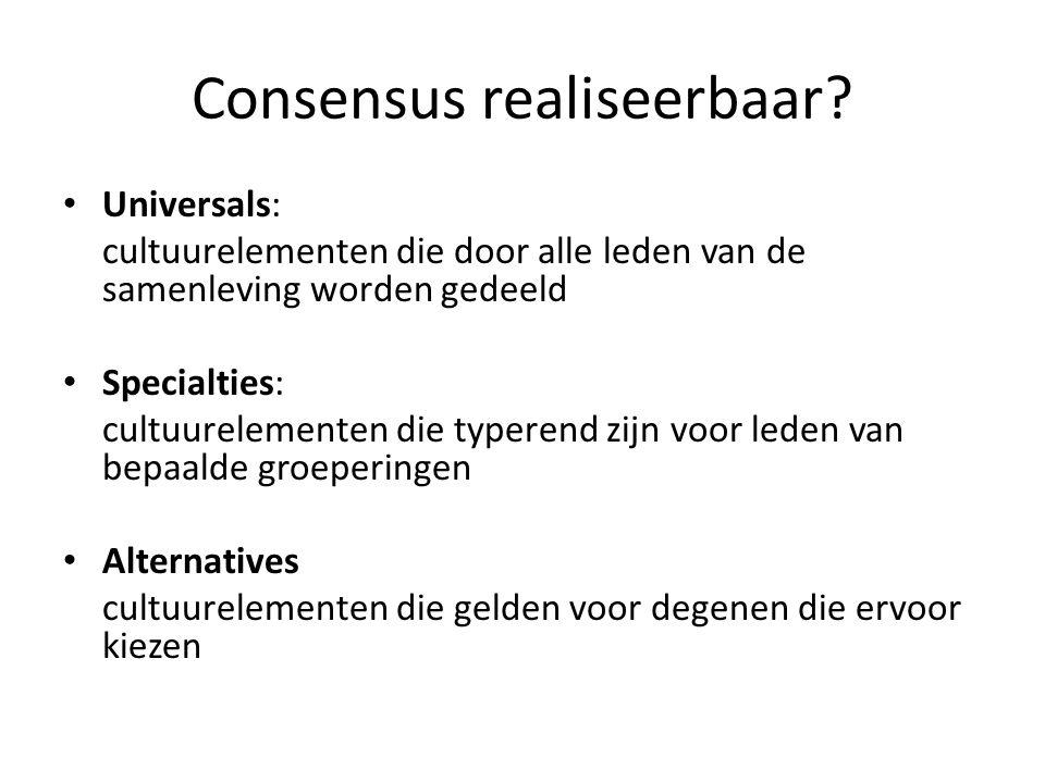 Consensus realiseerbaar
