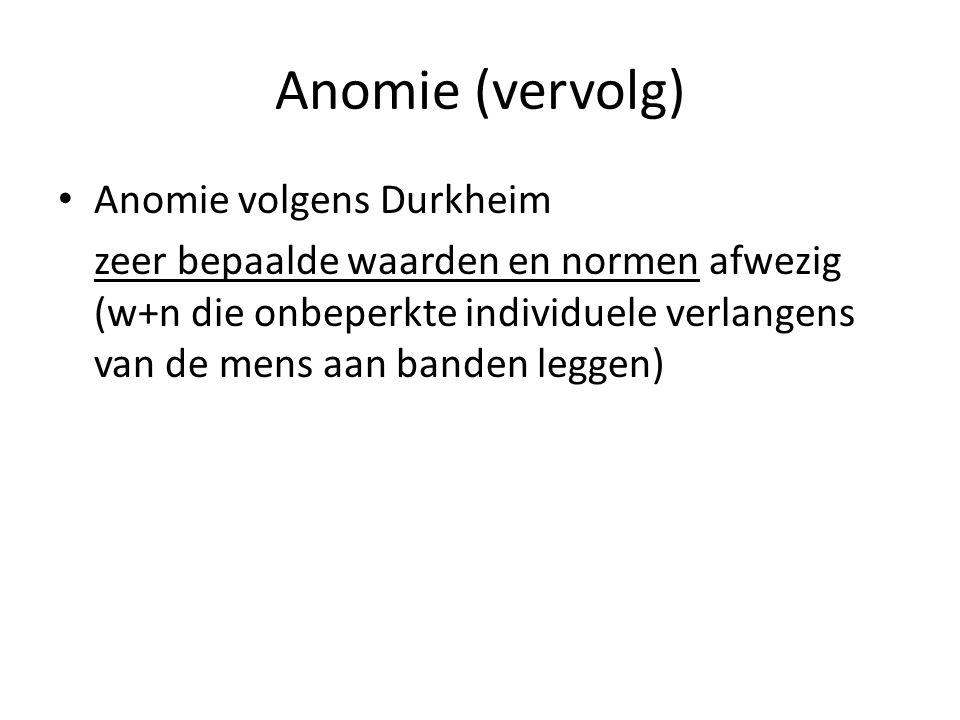 Anomie (vervolg) Anomie volgens Durkheim