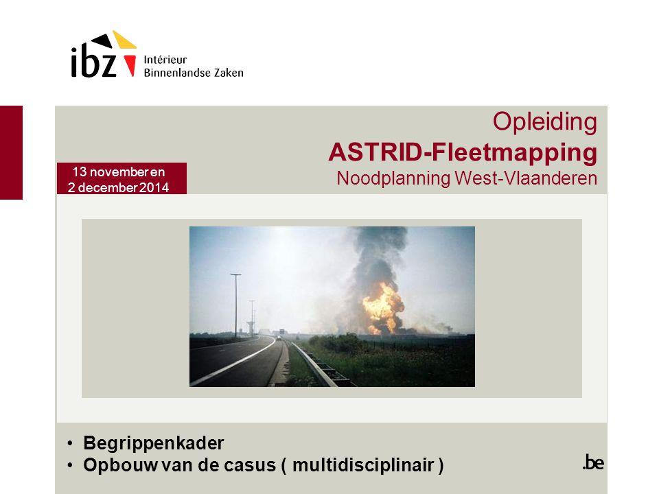 Opleiding ASTRID-Fleetmapping Noodplanning West-Vlaanderen