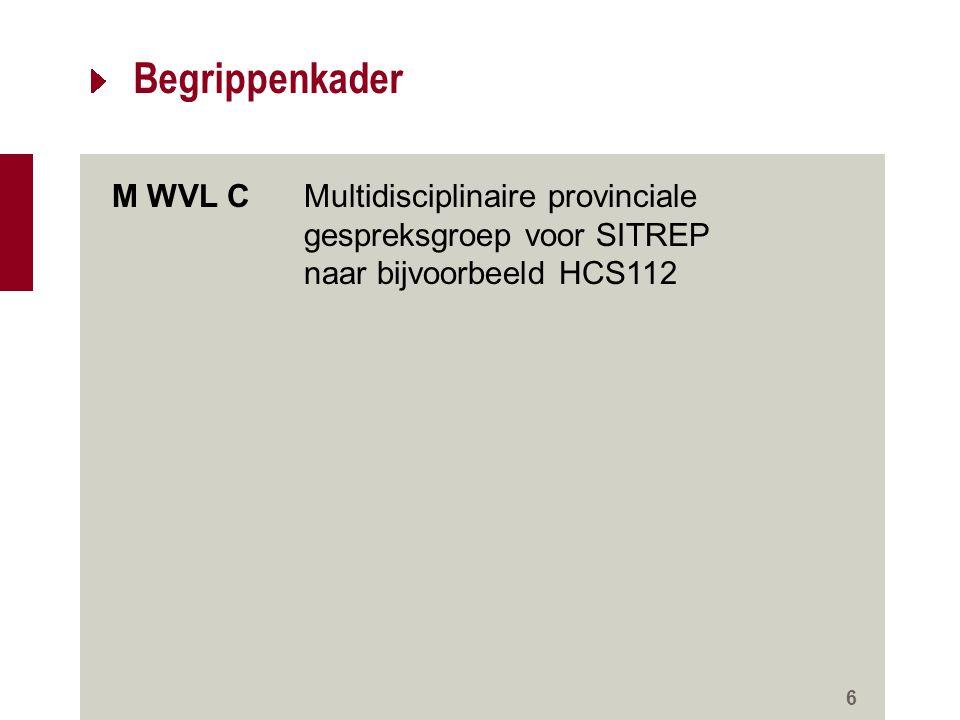 Begrippenkader M WVL C Multidisciplinaire provinciale gespreksgroep voor SITREP. naar bijvoorbeeld HCS112.