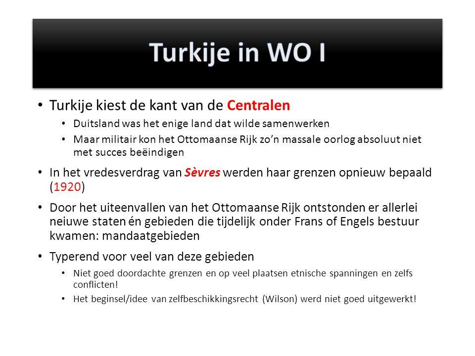 Turkije in WO I Turkije kiest de kant van de Centralen