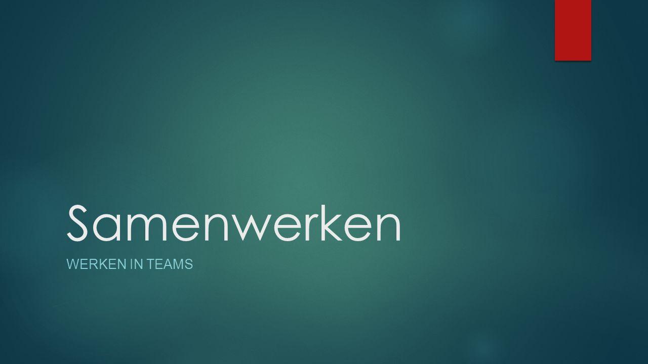 Samenwerken Werken in Teams