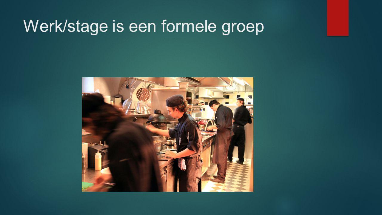 Werk/stage is een formele groep