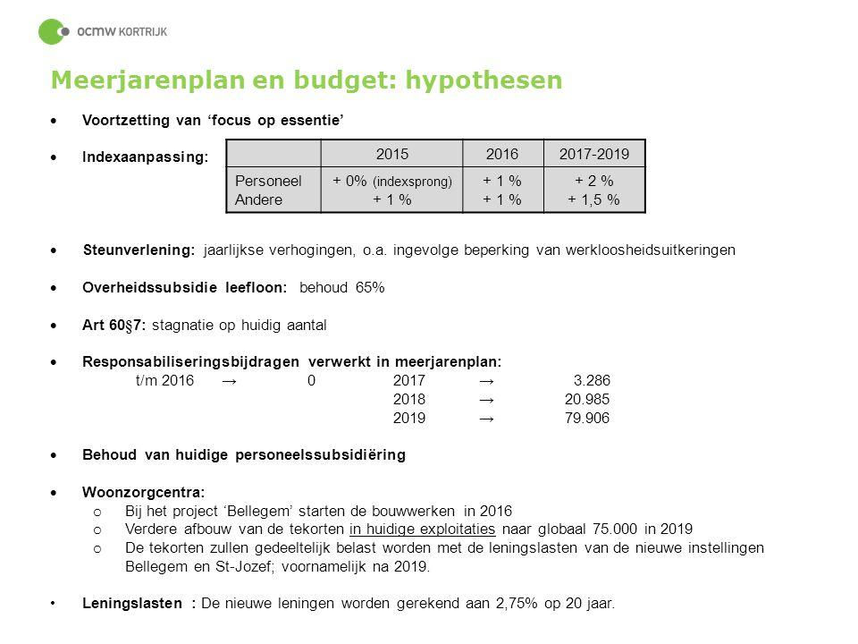 Meerjarenplan en budget: hypothesen