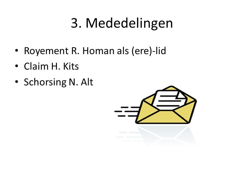 3. Mededelingen Royement R. Homan als (ere)-lid Claim H. Kits
