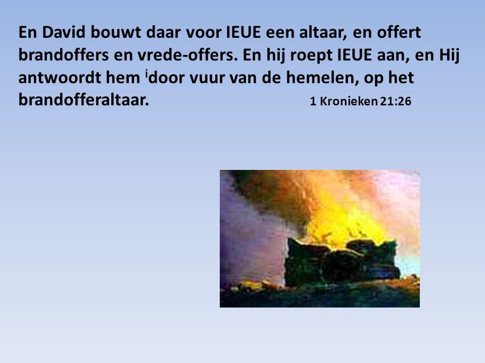 En David bouwt daar voor IEUE een altaar, en offert brandoffers en vrede-offers.