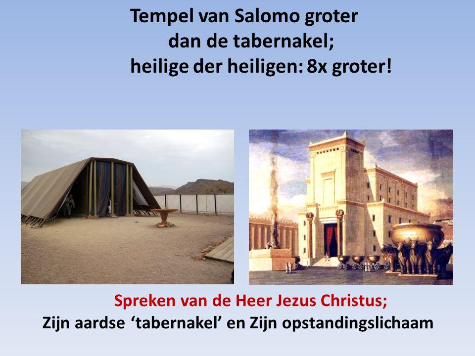 Tempel van Salomo groter dan de tabernakel; heilige der heiligen: 8x groter!