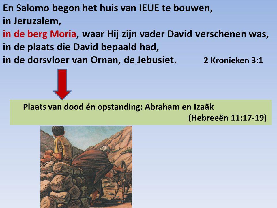 En Salomo begon het huis van IEUE te bouwen, in Jeruzalem, in de berg Moria, waar Hij zijn vader David verschenen was, in de plaats die David bepaald had, in de dorsvloer van Ornan, de Jebusiet. 2 Kronieken 3:1