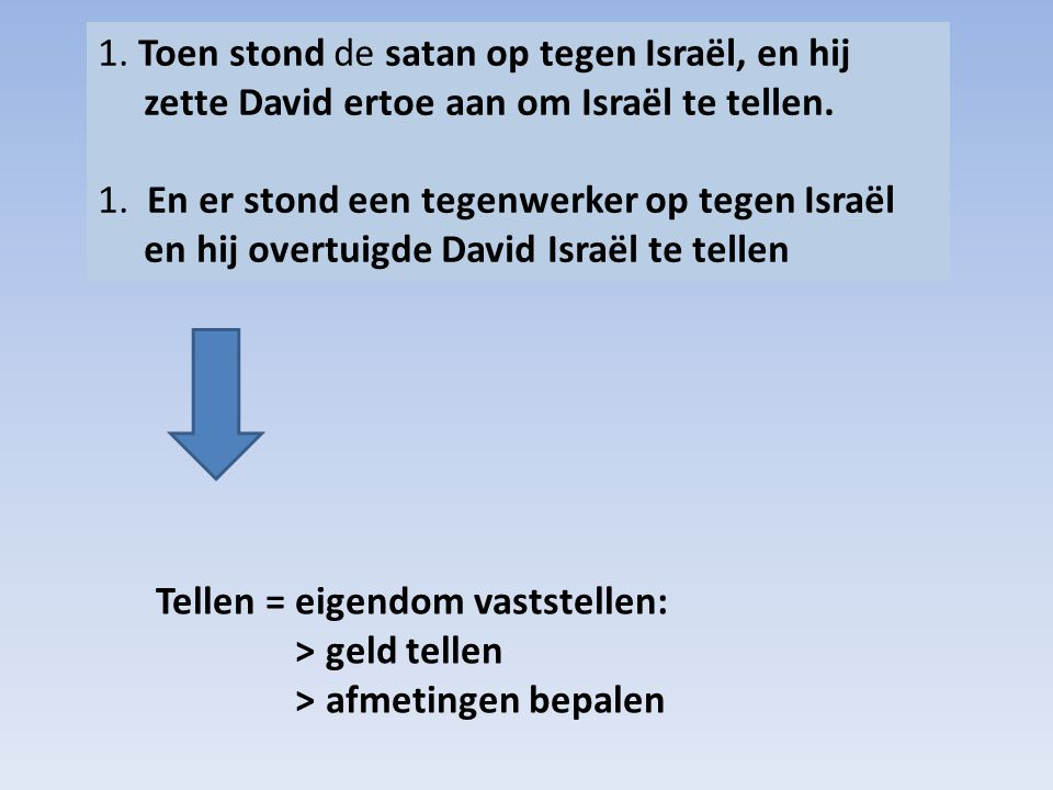 1. Toen stond de satan op tegen Israël, en hij zette David ertoe aan om Israël te tellen. 1. En er stond een tegenwerker op tegen Israël en hij overtuigde David Israël te tellen