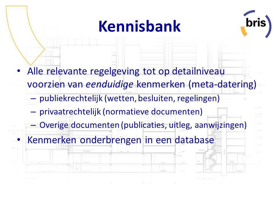 Kennisbank Alle relevante regelgeving tot op detailniveau voorzien van eenduidige kenmerken (meta-datering)